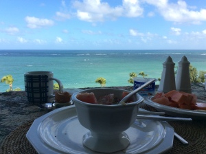 Muesli breakfast traveling in San Juan, Puerto Rico.  Traveling is no excuse to eat poorly!